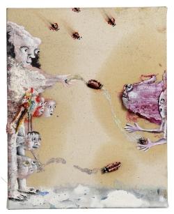 marlene-mocquet-le-perroquet-officieux-27x22x2-5cm-2012-huile-acrylique-bombe-aerosol-cheveux-80f006a07c642029dfb38c3b97718c79