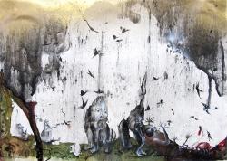 marlene-mocquet-stele-21x29x2-5cm-2015-fusain-crayon-de-couleur-email-a-froid-huile-stylo-encre-bombe-arosole-2c513ac41c4b85f522a3520d85ad55d9