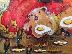 mocquet-un-nounours-dans-le-ventre-et-les-flammes-dans-le-coeur-25x25cm-2020-email-a-froid-huile-gesso-glycero-resine-epoxy-paillette-sur-bois-detail-web-b2126c87098bf1207b383f63e037c25d